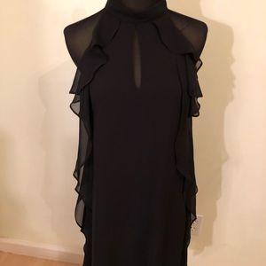 BCBG Generation black sleeveless ruffle dress S